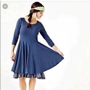 Matilda Jane Navy Fit & Flare Layered Grey Dress S
